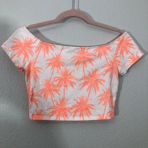 Neon Orange Palm Trees Print Crop Top
